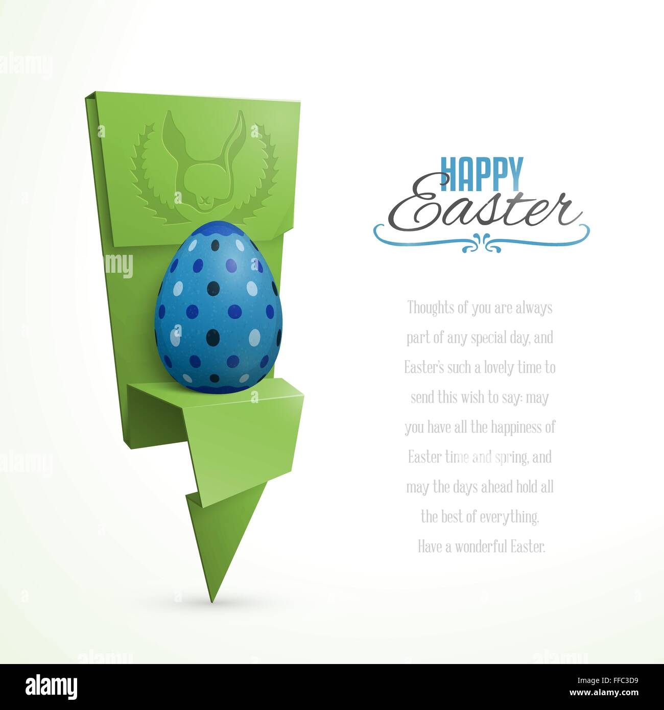 easter card with abstract origami egg holder stock vector art