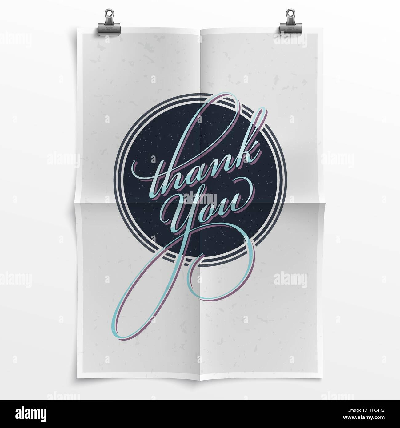 thank you note with a retrofuturistic touch on a folded poster stock