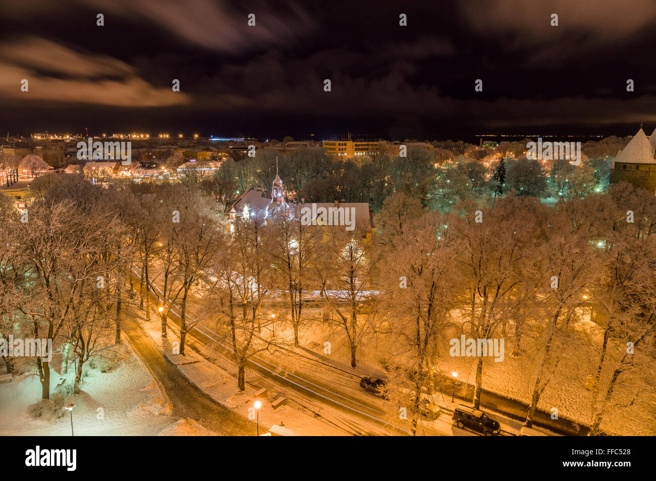 Tallinn city winter view from Patkuli viewing platform Stock Photo