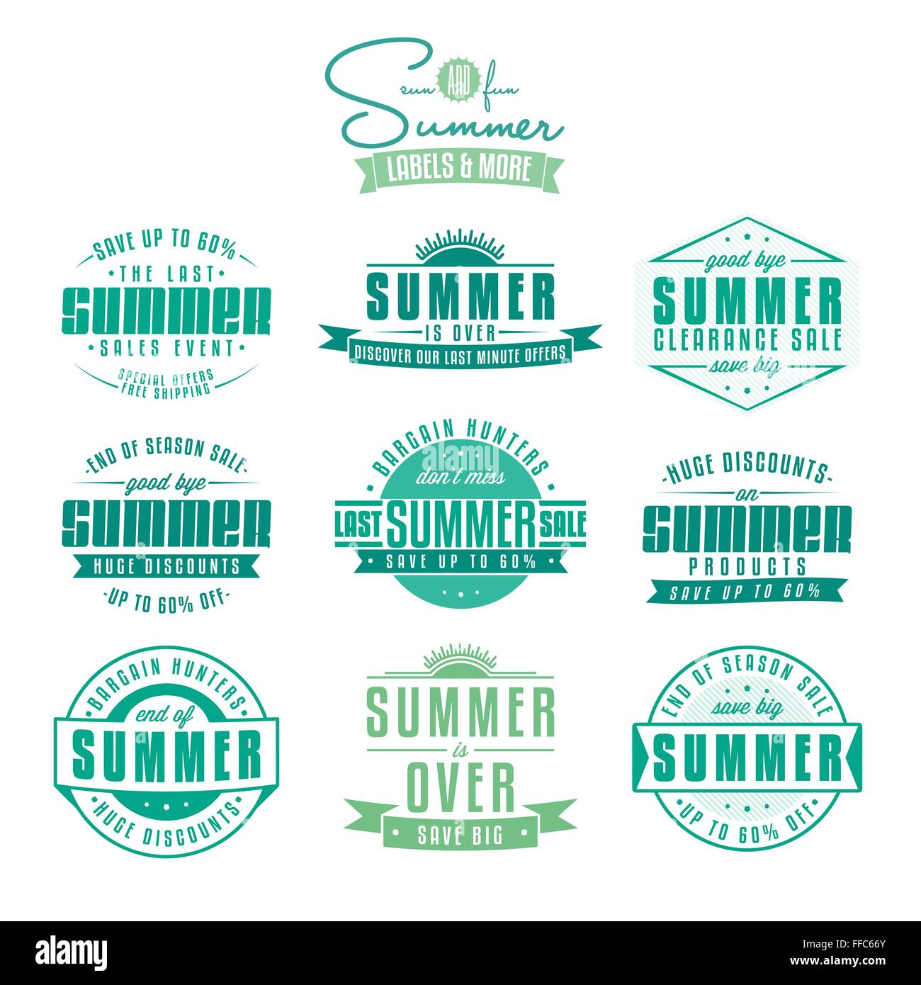 Collection of summer sales related vintage labels - Stock Image