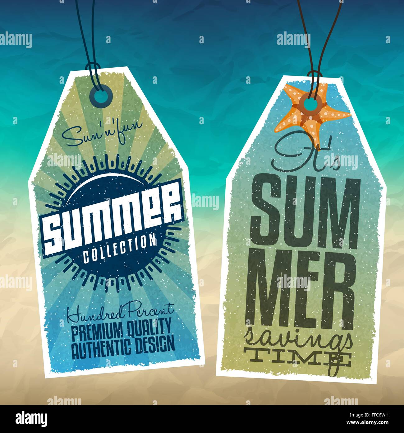 Vintage Summer Sales Related Hang Tags - Stock Image