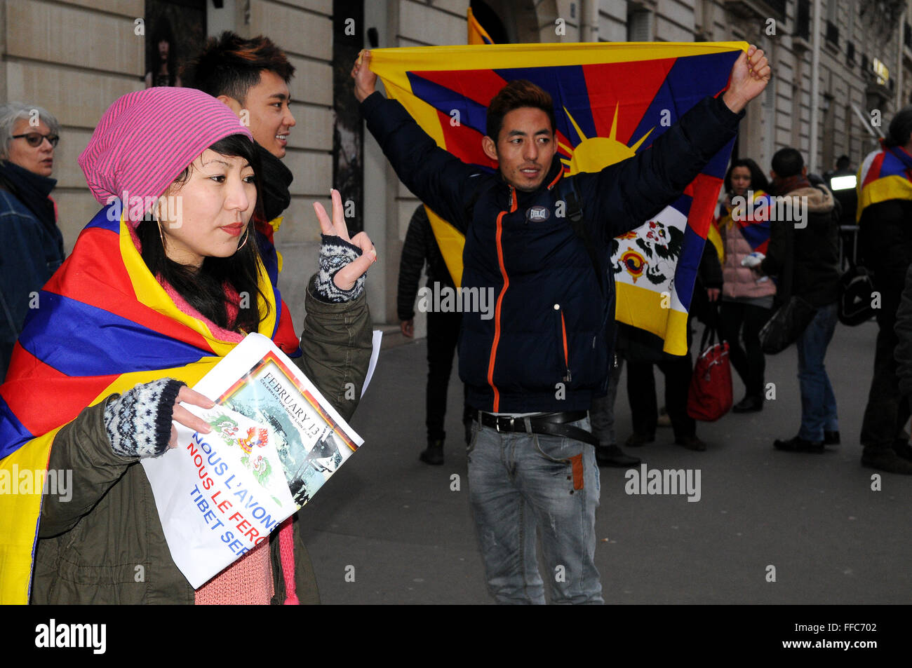 February 14th, 2015 - Paris  Tibetans students meet in Paris on february 13th to protest for a Free Tibet France - Stock Image