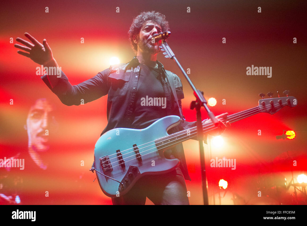 Turin, Italy. 11th February, 2016. Italian singer Max Gazz performs live during a concert at La Concordia on February - Stock Image
