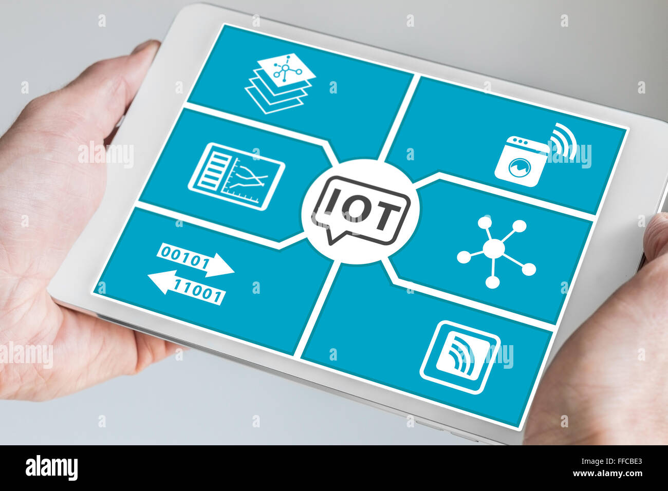 Internet of things (IOT) concept. Hand holding modern smartphone or tablet. - Stock Image