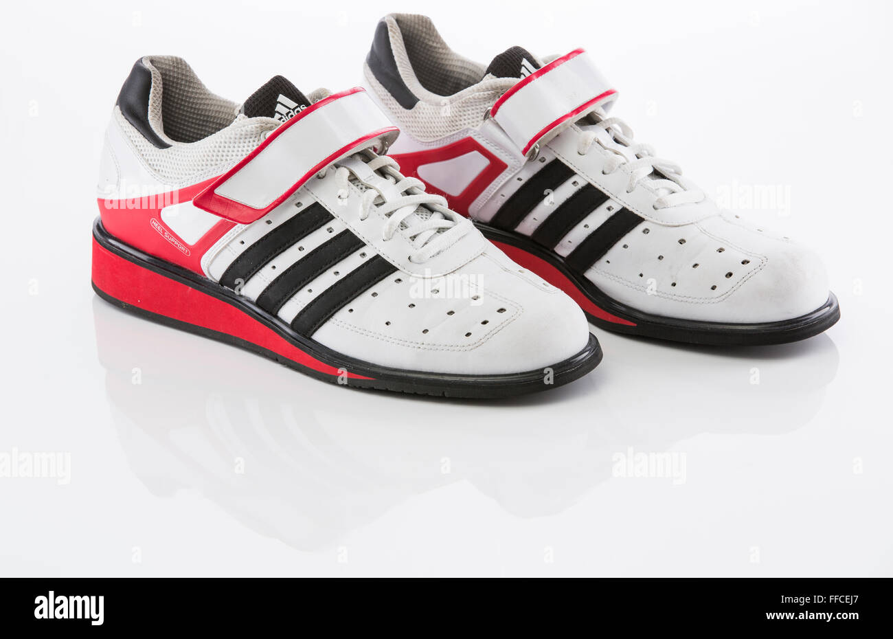 Adidas Olympic weightlifting shoes on a white background with a ...