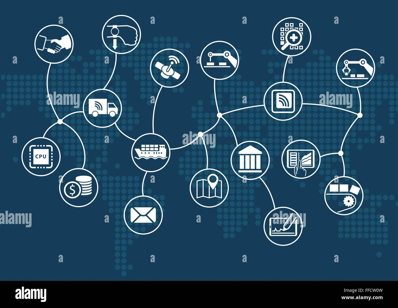Disruptive digital business and industrial internet of things (industry 4.0) concept. Dark information technology - Stock Image