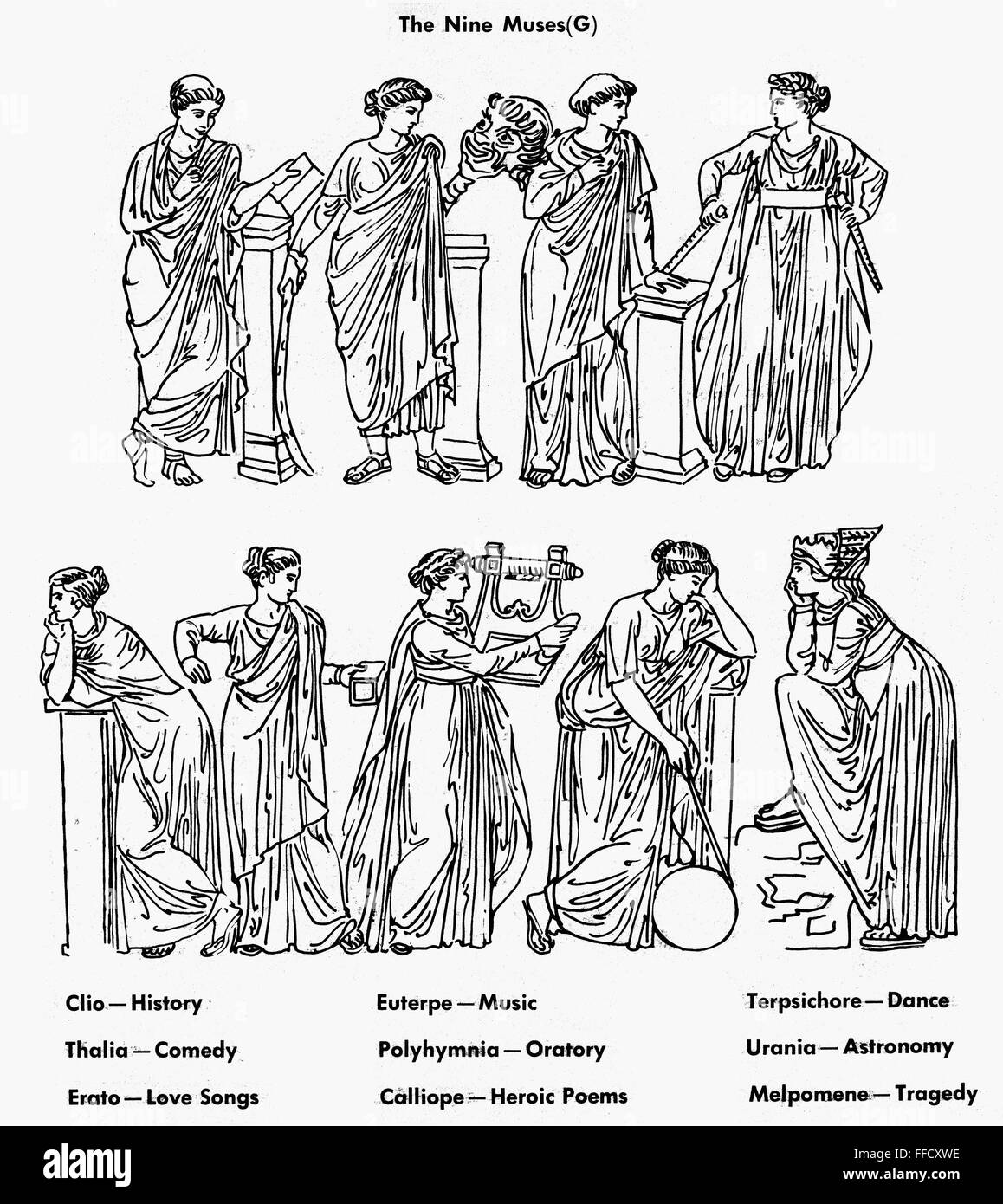 NINE MUSES  /nThe nine Muses of Greek mythology  Top row