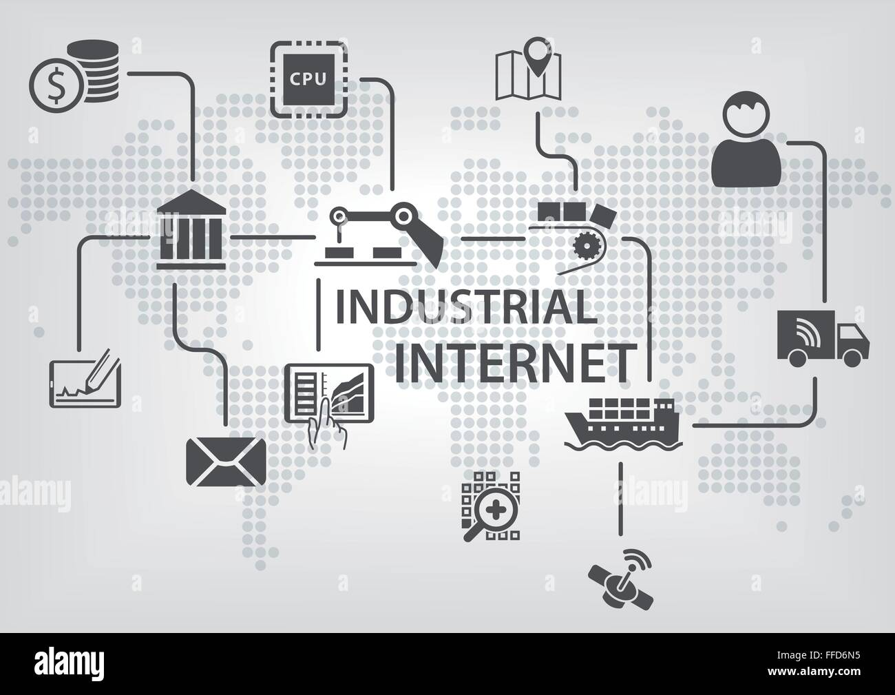 Industrial Internet (IOT) concept with world map and process flow for business automation of industries. - Stock Vector