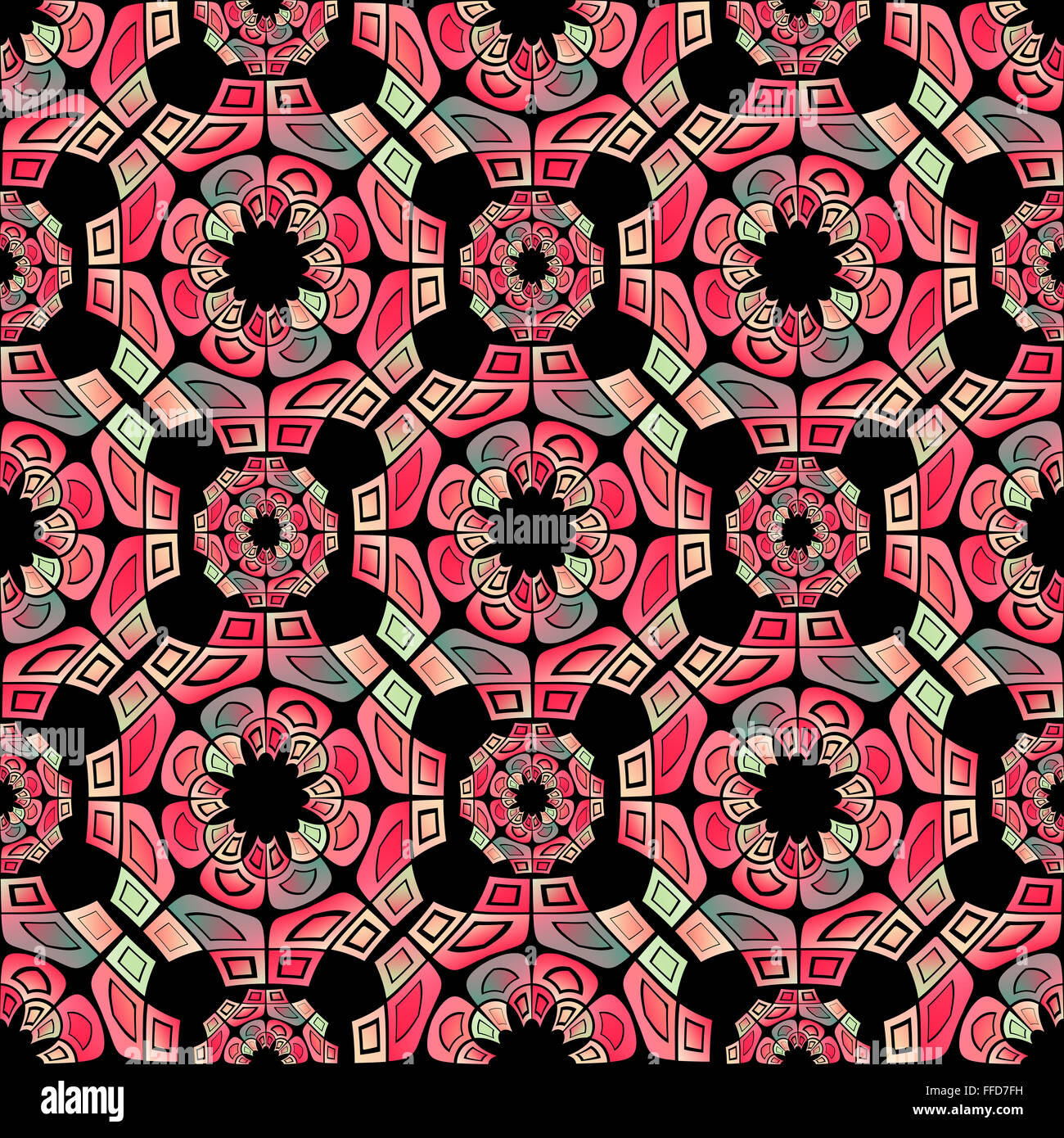 Red and green geometric tribal pattern, made with squares, on a black background. Geometric digital art. - Stock Image