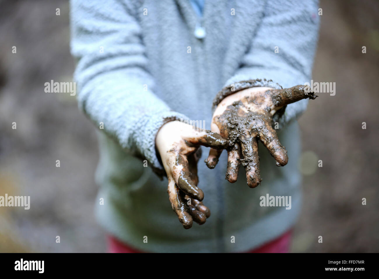 A young child shows off her dirty hands covered in thick wet mud. - Stock Image