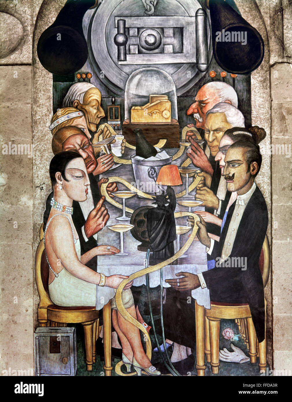 Wealthy american industrialists read a golden ticker tape among them are john d rockefeller henry ford and j p morgan mural by diego rivera at the