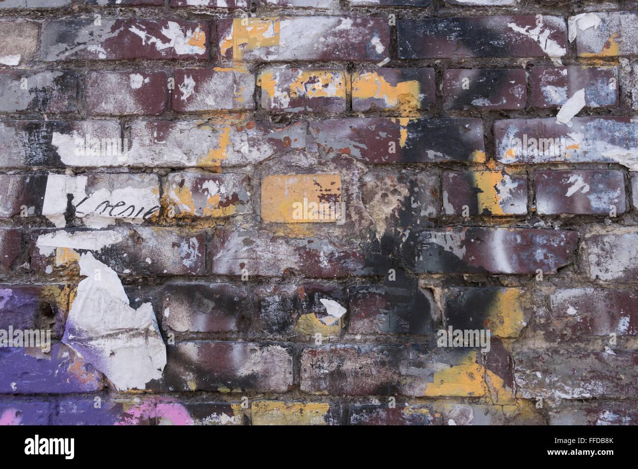 shabby wall in berlin friedrichshain - Stock Image