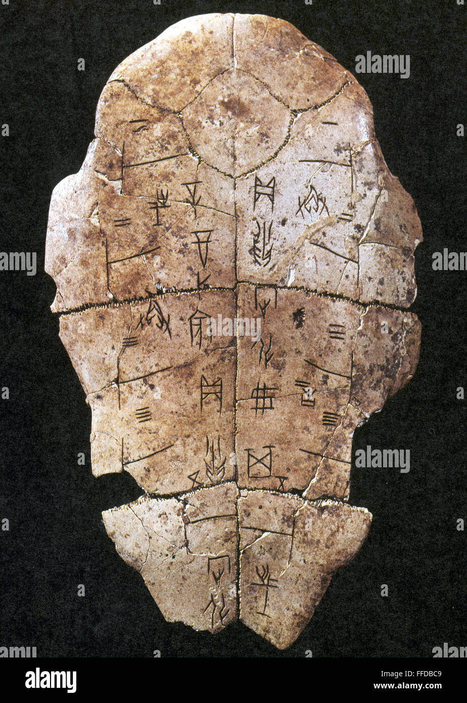 china  oracle shell    na tortoise shell inscribed with chinese stock photo  95566025