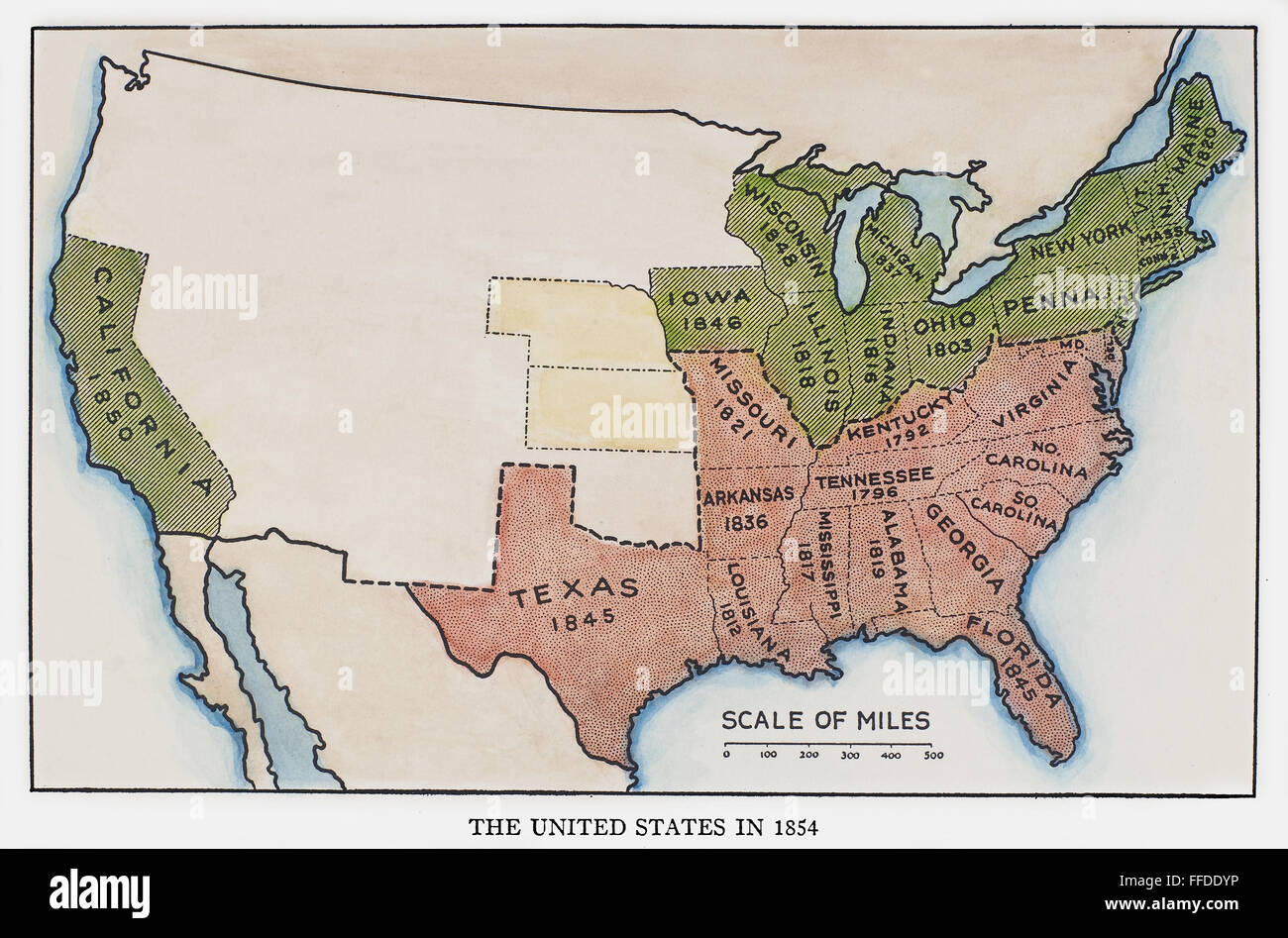 UNITED STATES MAP, 1854. /nMap of the United States at the time of ...