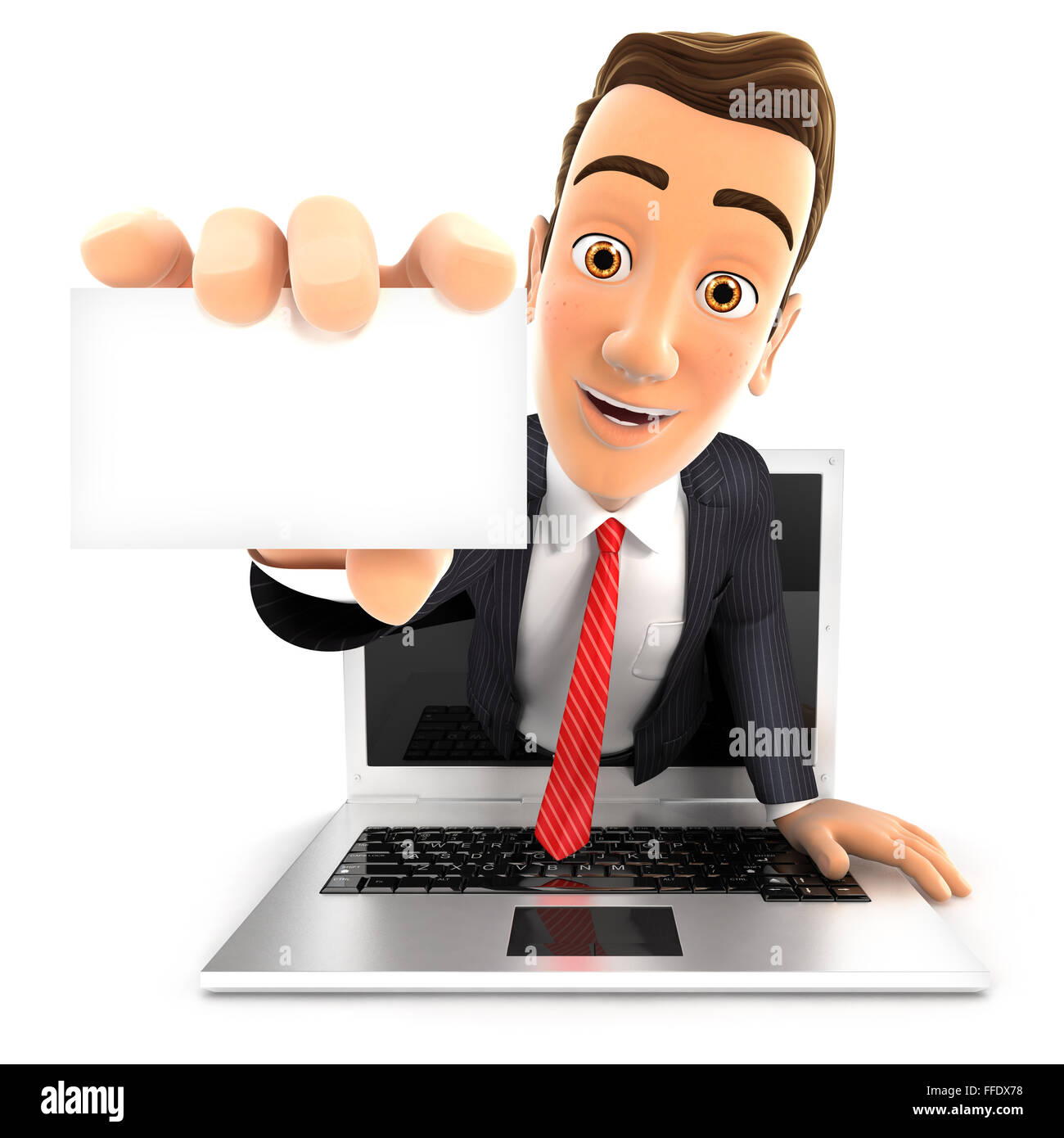 3d businessman coming out of laptop with a business card, isolated white background Stock Photo
