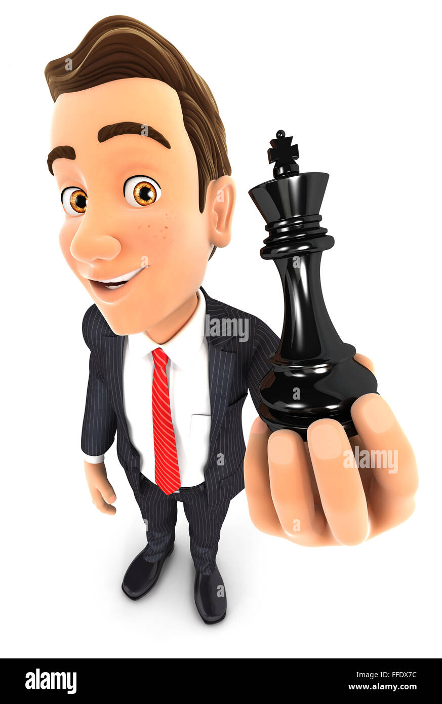 3d businessman holding a chess king, isolated white background Stock Photo