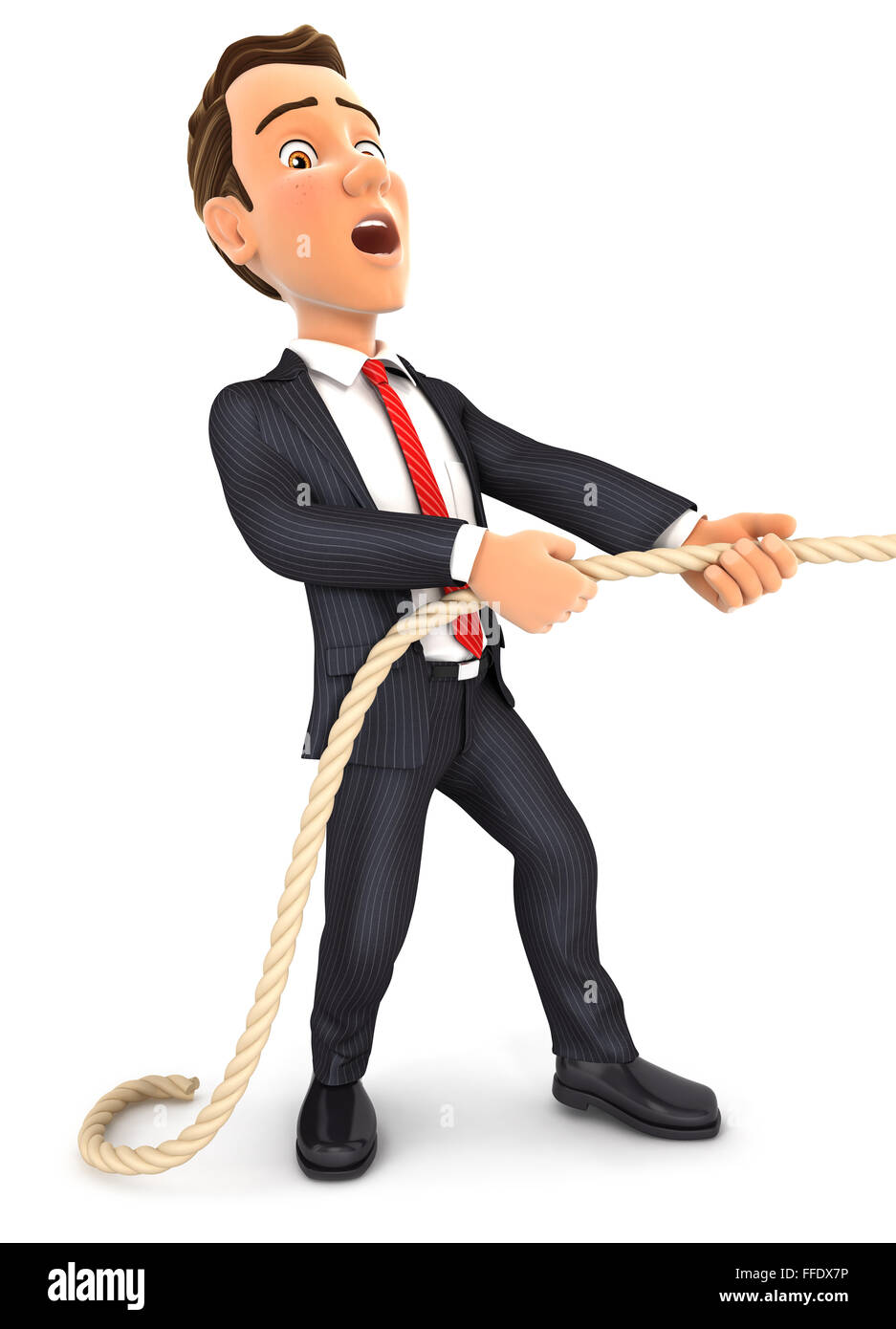 3d businessman pulling on the rope, isolated white background Stock Photo