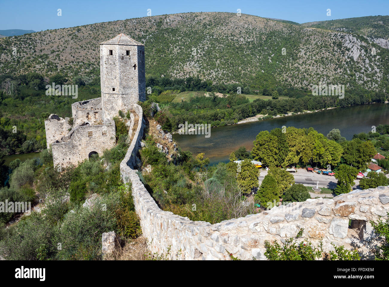 medieval citadel built by King Tvrtko I of Bosnia in 1383 in Pocitelj  village over Neretva river, Bosnia and Herzegovina