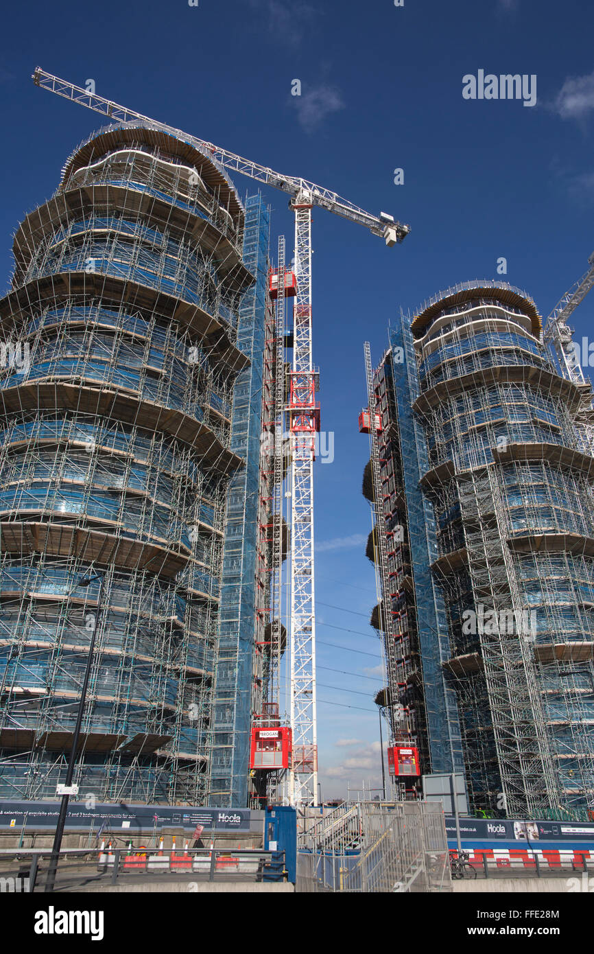 Hoola Development of 23-and 24-storey residential apartment towers in the Royal Victoria Docks area of East London, - Stock Image