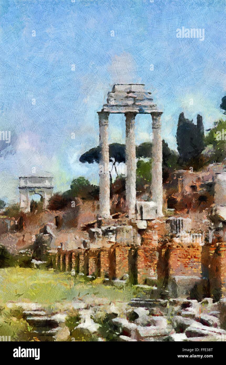 Temple of Castor & Pollux Arch of Titus & the Roman Forum - Stock Image