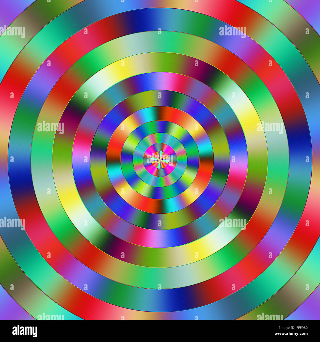 Multicoloured vibrant graduated circles. - Stock Image