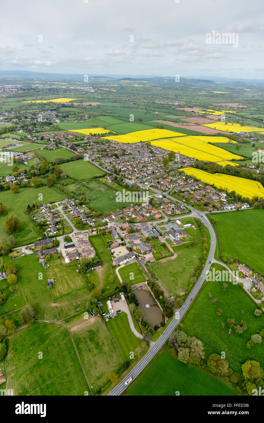 An aerial view of the West Midlands village of Hagley - Stock Image