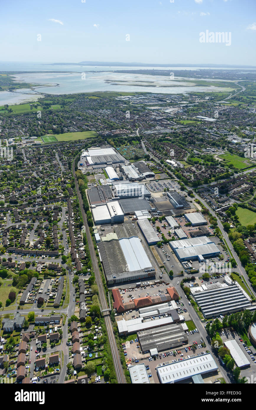 An aerial view of the New Lane industrial estate in Havant. The Solent and Isle of Wight are visible in the distance - Stock Image