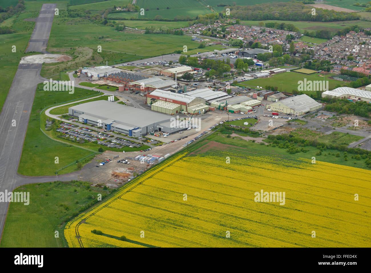 An aerial view of Hucknall Aerodrome near Nottingham - Stock Image