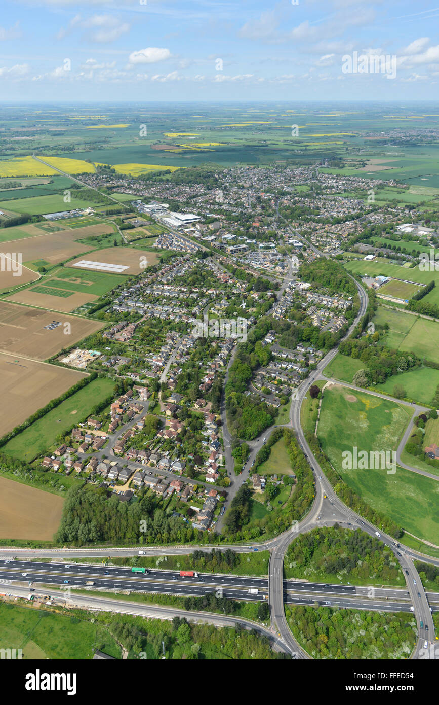 An aerial view of the Cambridgeshire village of Impington - Stock Image