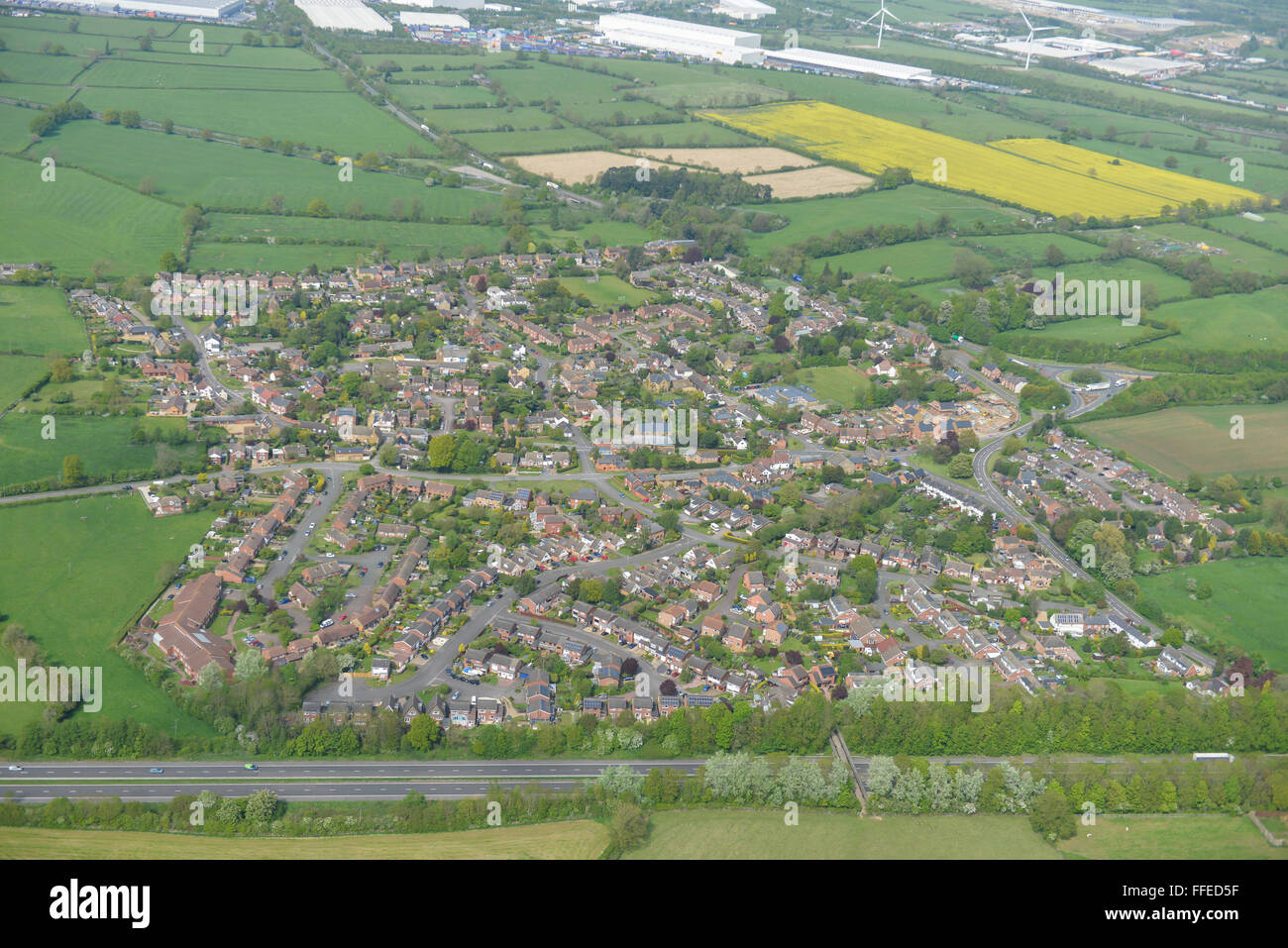 An aerial view of the Northamptonshire village of Kilsby - Stock Image