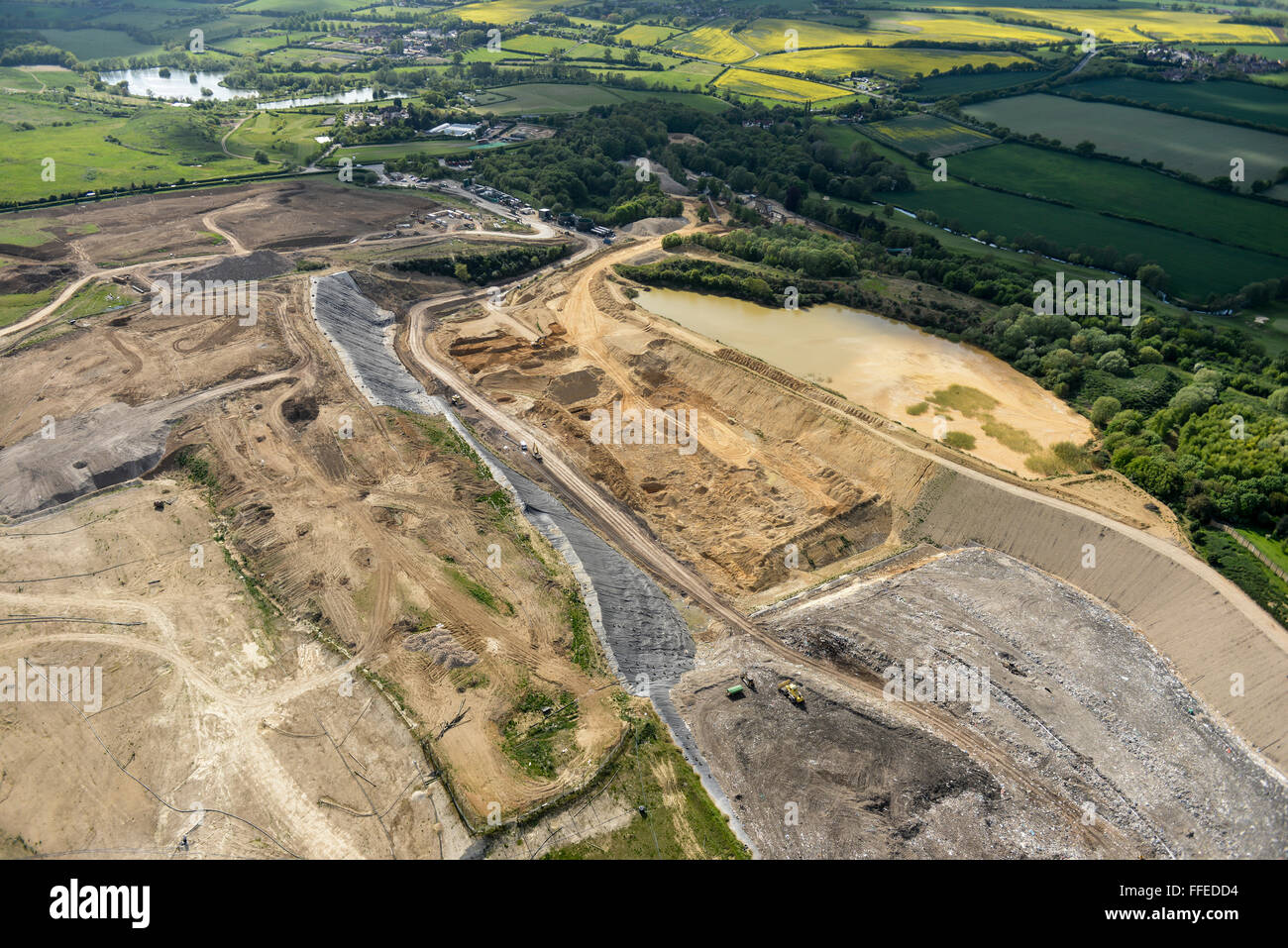 An aerial view of a landfill site in Hertfordshire, UK - Stock Image