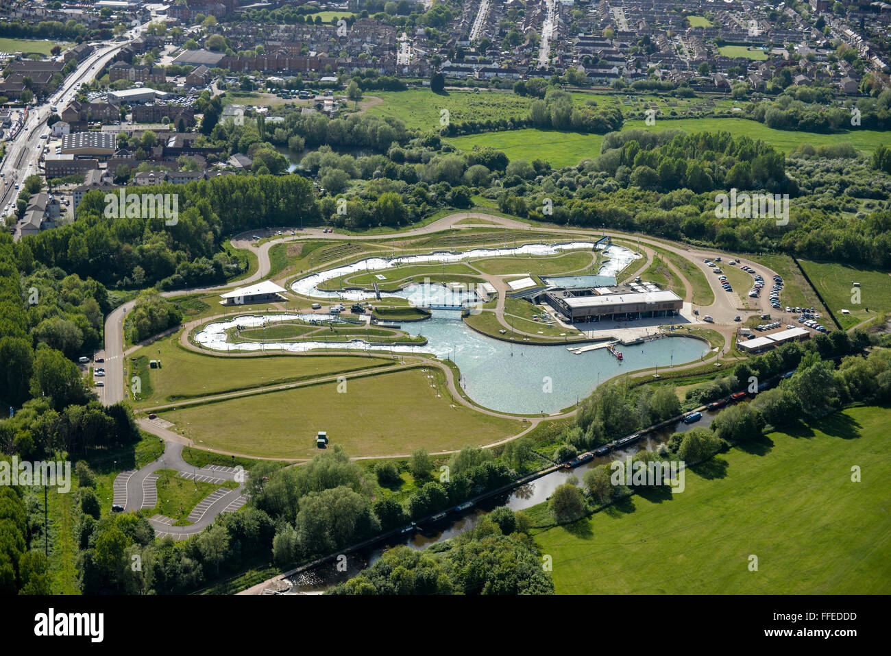 An aerial view of the Lee Valley White Water Centre, constructed for the 2012 Summer Olympics in London - Stock Image