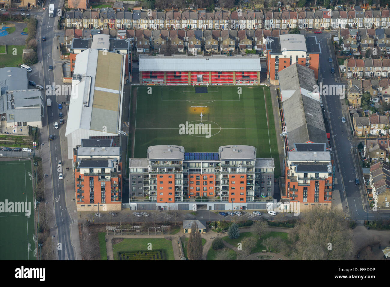 An aerial view of Brisbane Road. The home of Leyton Orient FC - Stock Image