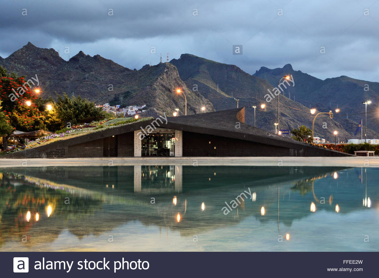 Modern restaurant exterior reflecting in the lake with Anaga Stock ...