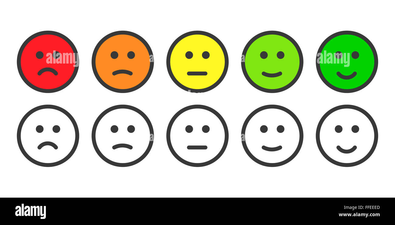 Emoji icons for rate of satisfaction level - Stock Image