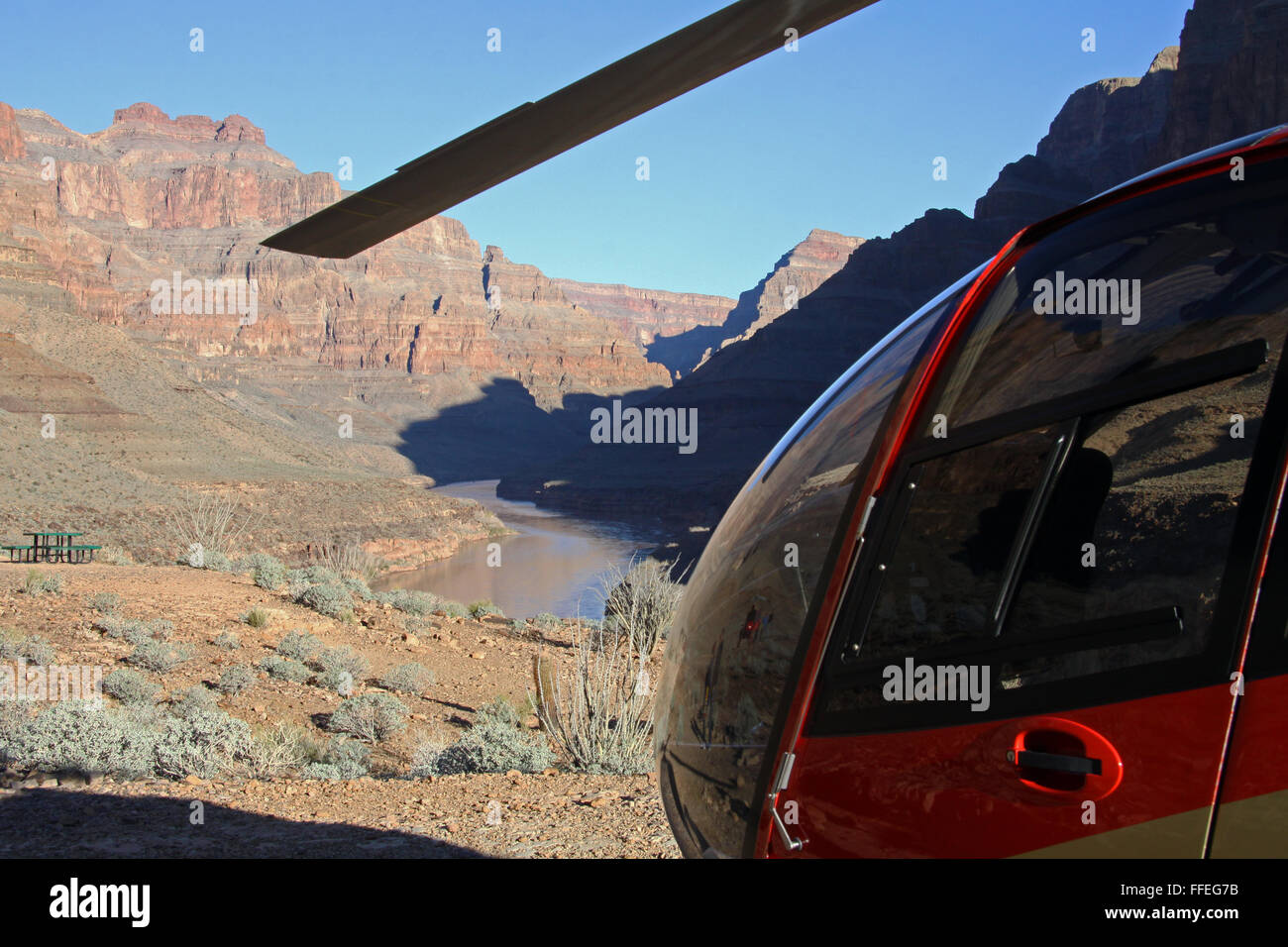 Grand Canyon helicopter tours, flying from Boulder City Airport to the West Rim, Nevada, USA - Stock Image