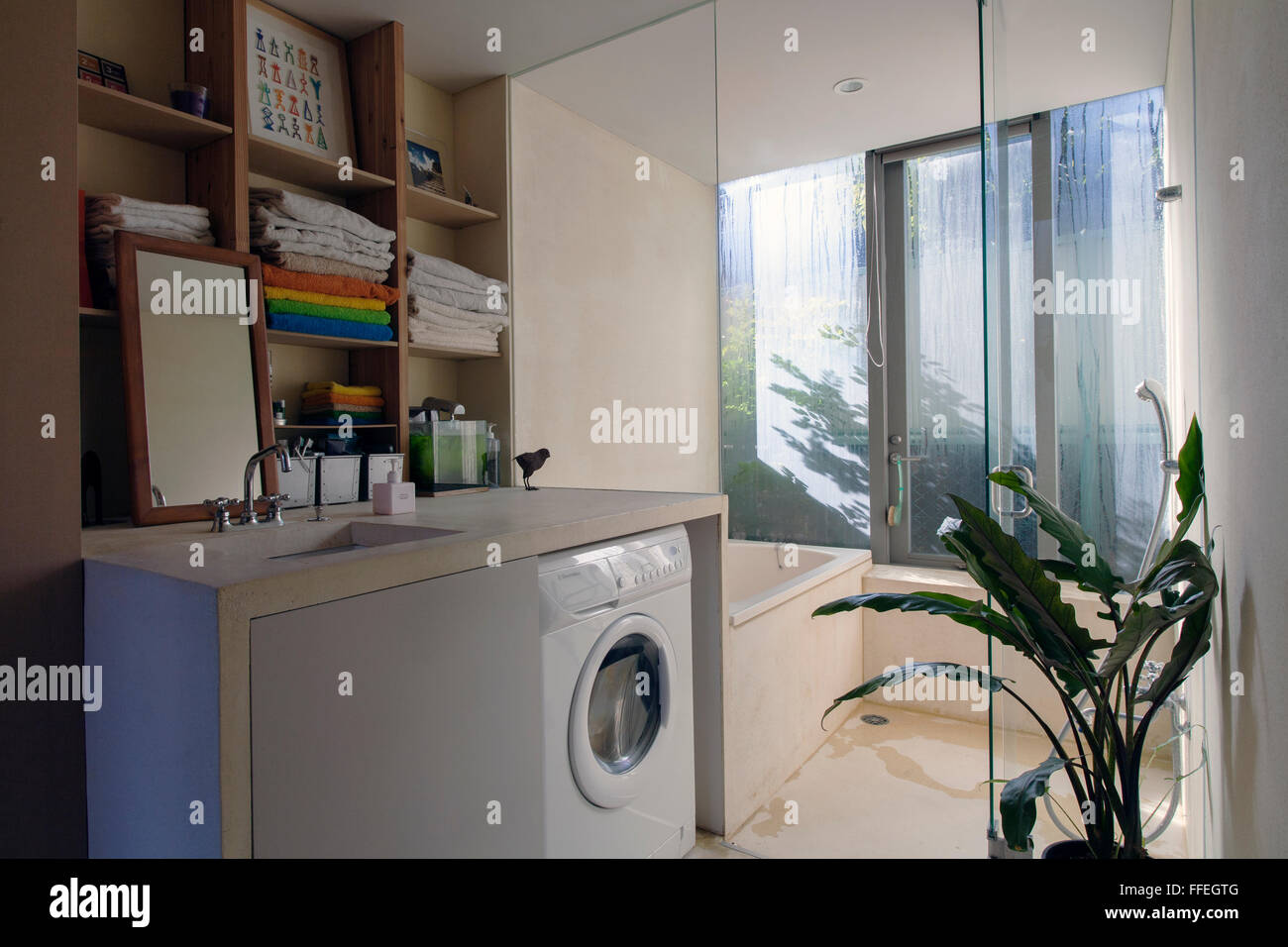 Japanese contemporary bathroom in an apartment - Stock Image
