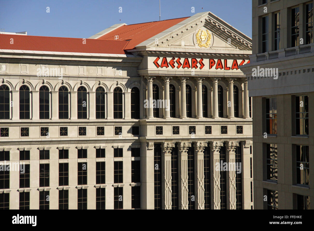 the facade of Caesars Palace Hotel in Las Vegas, Nevada, USA Stock Photo