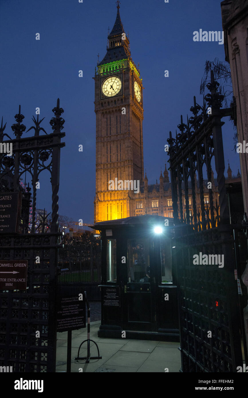 Big Ben at dusk.It is also known as St Stephen's Tower and is part of the Houses of Parliament, London, England - Stock Image