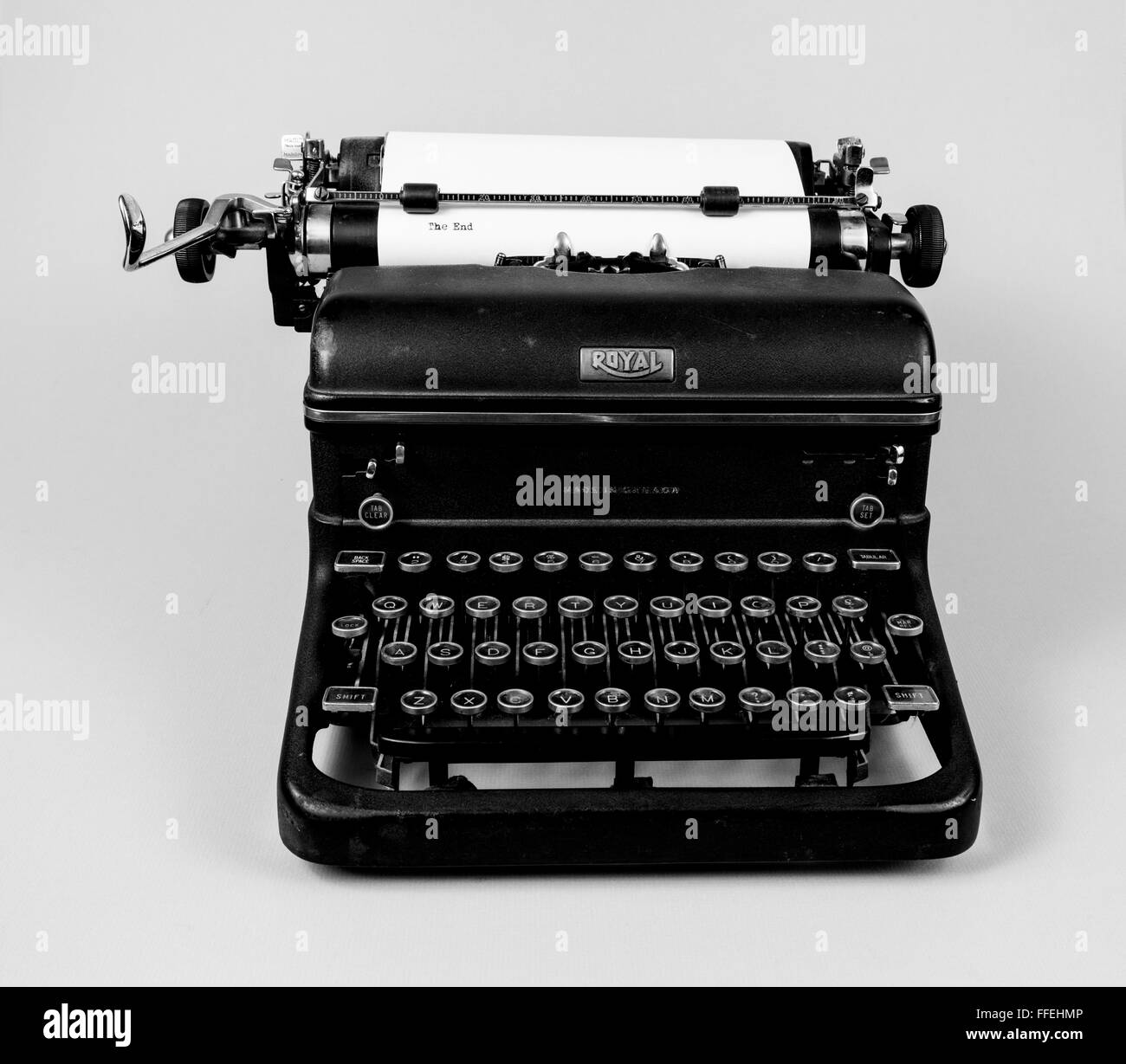 Vintage typewriter on white background - Stock Image