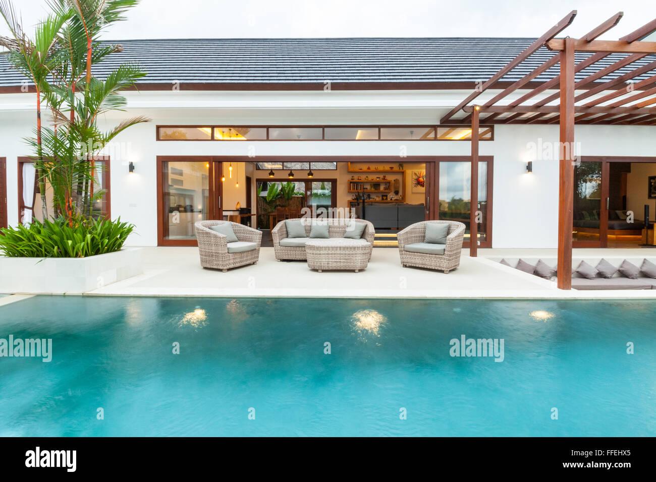 Swimming Pool Villa View To Living Room Stock Photo Alamy