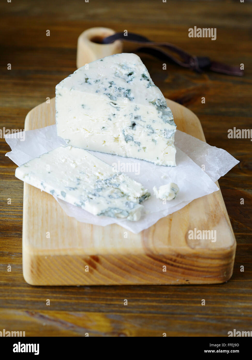 piece of roquefort cheese, food closeup - Stock Image