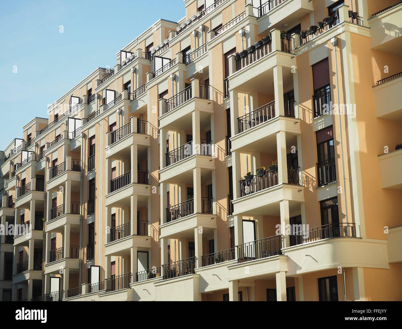 A new building in mediterranean style with flats is seen in the ...