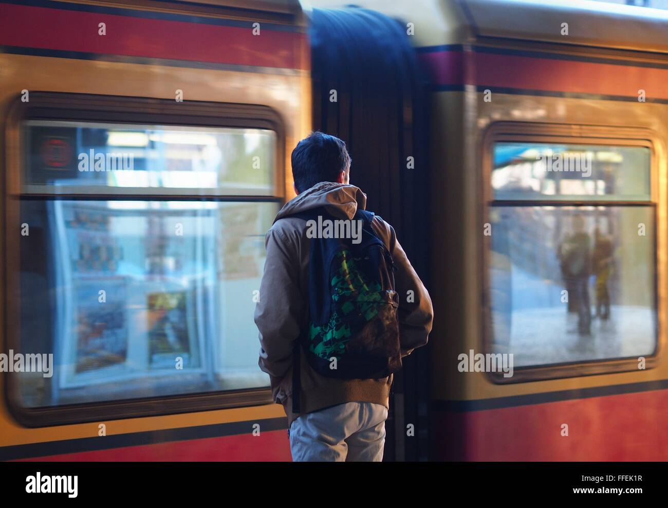 A young migrant is waiting fo the S-Bahn train at a station in Berlin on February 03, 2016. Photo: Wolfram Steinberg/dpa - Stock Image