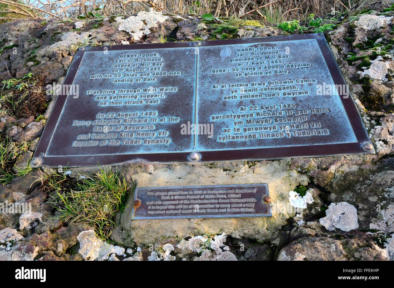 Plaque to commemorate Henry Tudor Earl of Richmond above Mill Bay Dale Pembrokeshire Wales Cymru UK GB - Stock Image