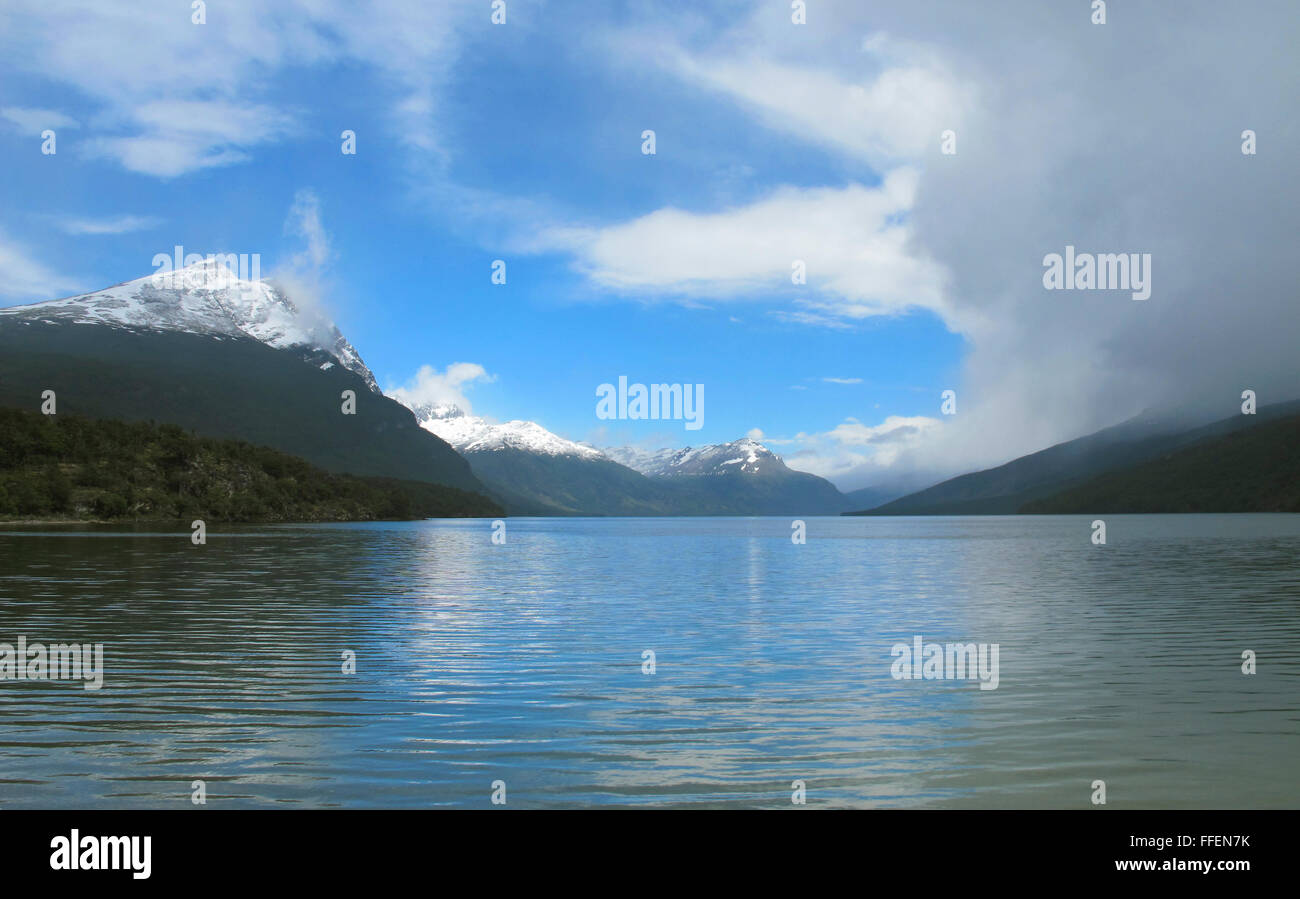 Patagonian landscape with lake and mountains. Horizontal - Stock Image