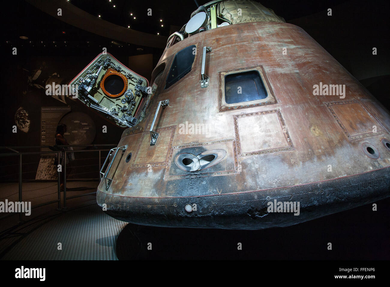 Apollo 14 re-entry capsule on display at Kennedy Space Center, Florida, USA - Stock Image