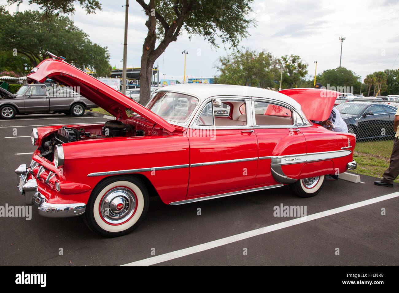 Chevrolet Bel Air Power Glide on display at Kissimmee Old Town weekly car cruise, Kissimmee Florida - Stock Image