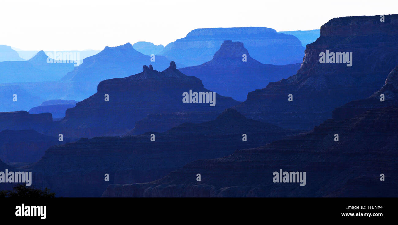 Grand Canyon Arizona a steep-sided canyon carved by Colorado River Native American Indians Inhabited the canyon. Stock Photo
