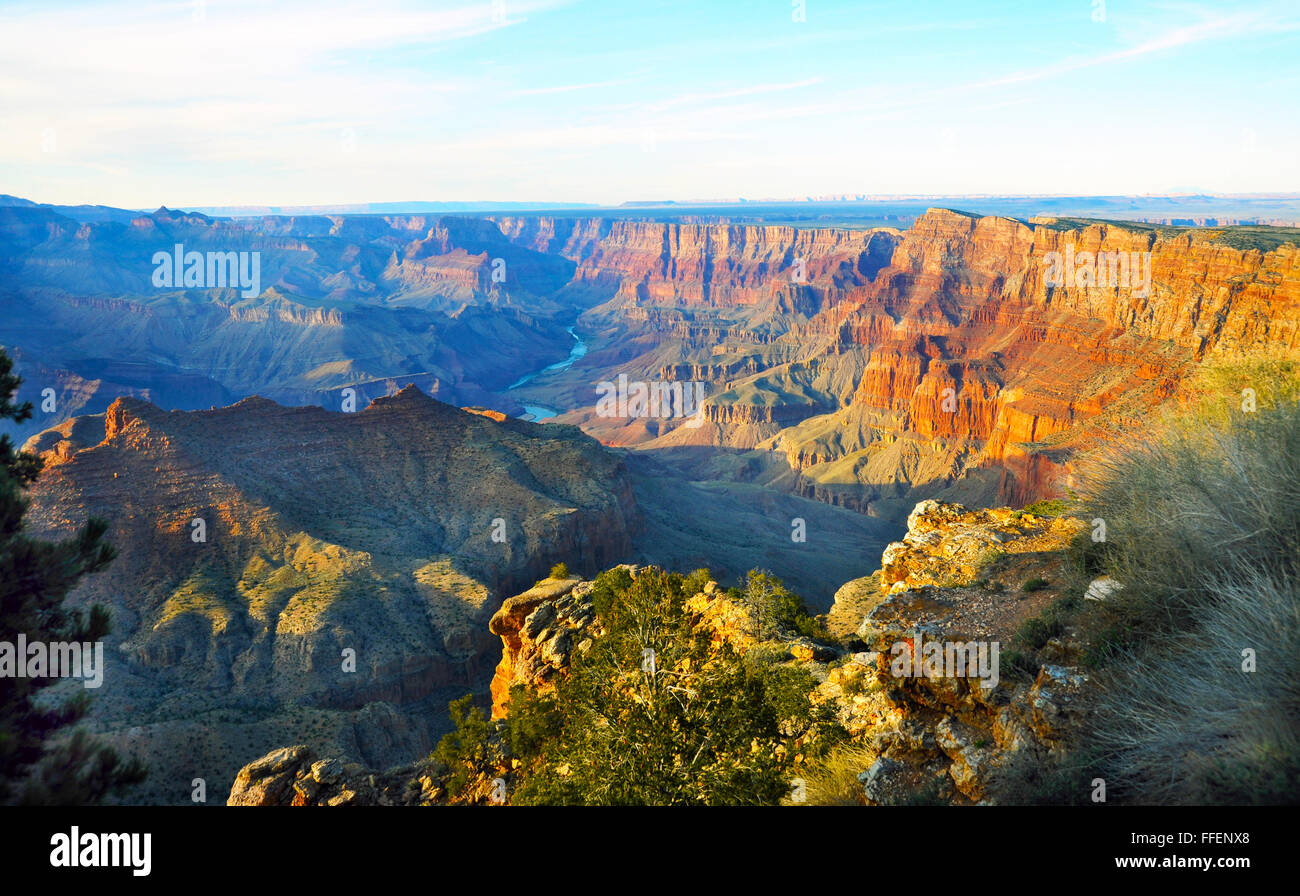 Grand Canyon, steep-sided canyon carved by Colorado River Arizona, 277 miles long,18 miles wide,Native American,Pueblo - Stock Image